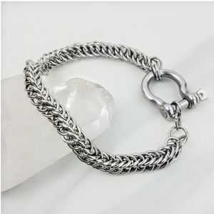 Stainless Steel • Chainmail Silver Men's Bracelet